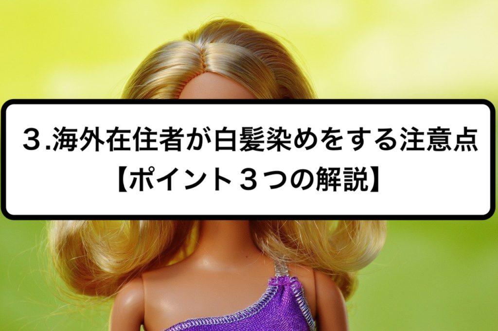 3.海外在住者が白髪染めをする注意点【ポイント3つの解説】